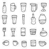 Hand drawn rough simple sketches of various types of alcoholic and non-alcoholic drinks. Stock Images