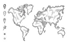 Hand drawn, rough sketch world map with doodle pins Stock Photos