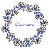 Hand-drawn round flower frame on a white background. Hand-drawn blue round flower frame on a white background Royalty Free Stock Photography