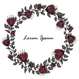 Hand-drawn round flower frame on a white background. Pink and grey colors Stock Photo