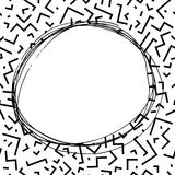 Hand drawn round frame in memphis style. Fashion 80-90s. Hand drawn round frame in memphis style.Vector illustration .Fashion 80-90s. Black and white mosaic Stock Illustration