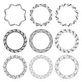 Hand drawn round frames, circle ornaments Stock Images