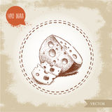 Hand drawn round head of cheese with sliced cheese pieces Stock Images