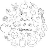 Hand drawn round  set with fruits and vegetables Royalty Free Stock Photography