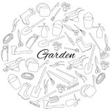 Hand drawn round set objects of garden tools and accessories. Hand drawn round set objects of garden tools Stock Photography
