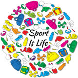 Hand Drawn Round Set with sports equipment. Hand Drawn Round Set with sports and fitness equipment Stock Photography