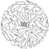 Hand drawn Round  set with tools. Hand drawn round flat  set with tools Royalty Free Stock Image