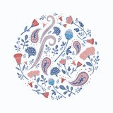 Hand drawn round template with cute flowers and leaves. Floral spring pattern for romantic and easter design, wedding invitations, greeting cards, posters Royalty Free Stock Image