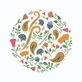Hand drawn round template with cute flowers and leaves. Floral spring pattern for romantic and easter design, wedding invitations, greeting cards, posters stock illustration