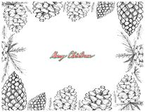 Hand Drawn Row of Pine Cone Frame. Illustration Frame of Hand Drawn Sketch of Various Style of Lovely Christmas Pine Cones Isolated on White Background, Sign for Stock Images