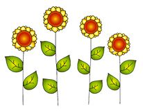 Hand Drawn Row of Vector Sunflowers Royalty Free Stock Photos