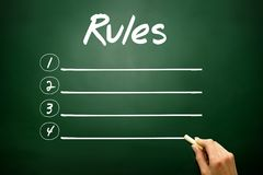 Hand drawn RULES blank list concept on blackboard Stock Photography