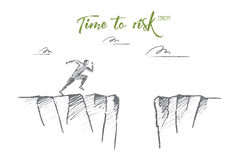 Hand drawn running man ready to jump over pass. Vector hand drawn time to risk concept sketch. Man running to edge of mountain and ready to jump to other side Royalty Free Stock Image