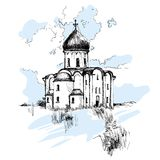 Hand drawn Russian Church, urban sketch. Style  illustration isolated on white background with blue sky. Sketch style drawing of historical Russian house Royalty Free Stock Photography