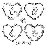Hand drawn rustic vintage heart wreaths with lettering. Floral  graphic. Nature design elements Royalty Free Stock Images