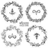 Hand drawn rustic vintage wreaths with curls. Floral vector Stock Image