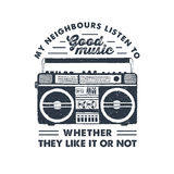 Hand drawn 90s themed badge with boombox player vector illustration. Royalty Free Stock Images
