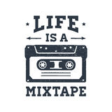 Hand drawn 90s themed badge with cassette tape vector illustration. Hand drawn 90s themed badge with cassette tape textured vector illustration and `Life is a vector illustration