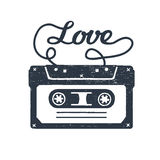 Hand drawn 90s themed badge with cassette tape vector illustration. Stock Images
