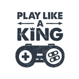 Hand drawn 90s themed badge with gamepad vector illustration. Hand drawn 90s themed badge with gamepad textured vector illustration and `Play like a king!` Royalty Free Stock Photography