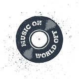 Hand drawn 90s themed icon. Hand drawn 90s themed badge with vinyl record textured vector illustration and `Music on - world out!` inspirational lettering Stock Photo