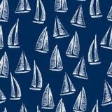 Hand drawn sailing boats pattern. Vector seamless pattern with hand drawn sailing ships. Hand drawn with chalk sailing boats. Beautiful design elements, perfect royalty free illustration