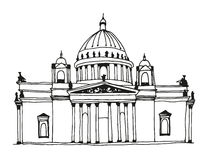 Hand drawn Saint Isaac's Cathedral in Saint Petersburg, Russia Stock Photo