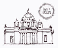 Hand drawn Saint Isaac's Cathedral in Saint Petersburg, Russia Royalty Free Stock Photos