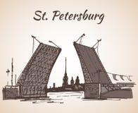 Hand drawn Saint Petersburg bridge. Russia Royalty Free Stock Photo