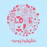 Hand drawn saint valentine day doodle icon set Stock Photos