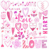 Hand drawn saint valentine day doodle icon set Royalty Free Stock Photo