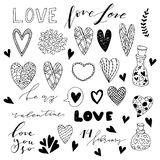 Hand drawn saint valentine day doodle icon set. Royalty Free Stock Photos