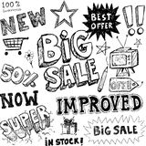 Hand-drawn sale doodles Stock Photography