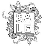 Hand drawn sale frame, artistically ethnic ornamental patterned Stock Photos