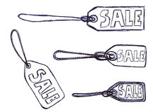 Hand-drawn Sale Tags royalty free illustration