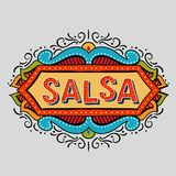 Hand drawn salsa frame. Festive hand drawn salsa frame. Vector illusration of banner in vintage style.Coloflul  poster for dance party, cards, banners, t-shirts Royalty Free Stock Images