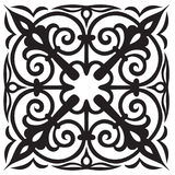 Hand-drawn sample for tile in oriental style in black and white colors. Italian majolica Royalty Free Stock Image