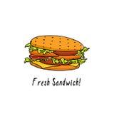 Hand drawn sandwich Royalty Free Stock Photo