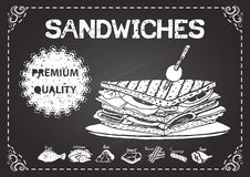 Hand drawn sandwiches on chalkboard with premium quality label Royalty Free Stock Image