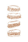Hand drawn sandwiches Stock Images