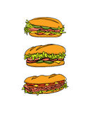 Hand drawn sandwiches Stock Photography