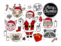 Hand drawn Santa Claus with animal characters. Merry Christmas Vector illustration set for holidays design isolated on white vector illustration