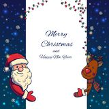 Hand drawn Santa Claus and Deer holding banner Royalty Free Stock Image