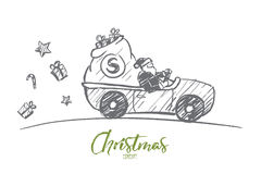 Hand drawn Santa Claus driving car with presents Royalty Free Stock Image