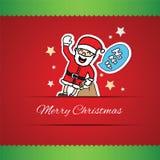 Hand drawn Santa Claus and ho ho ho speech bubble greeting card Royalty Free Stock Photography