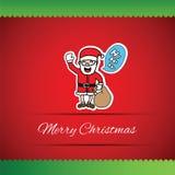 Hand drawn Santa Claus and ho ho ho speech bubble greeting card Royalty Free Stock Photo