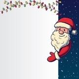 Hand drawn Santa Claus holding banner Royalty Free Stock Photos
