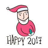 Hand drawn Santa Claus isolated on white. Vector illustration. Stock Image