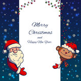 Hand drawn Santa Claus and Monkey holding banner. Vector illustration Stock Images