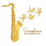 Hand drawn saxophone. Musical instrument vector illustration  Stock Images